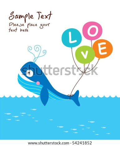 love whale doodle - stock vector