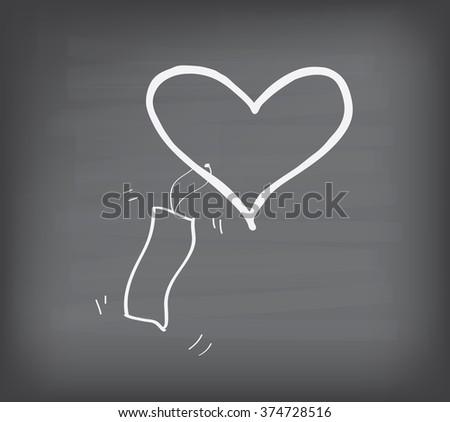love with bankroll on blackboard - stock vector