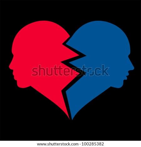 love �¢?? woman and man in the broken heart, vector - stock vector