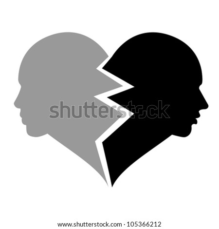 love �¢?? woman and man in the broken heart, vector - stock vector