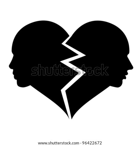 love - woman and man in the broken heart, vector - stock vector