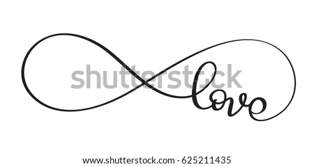 Love Word In The Sign Of Infinity Vectorigraphy And Lettering Eps
