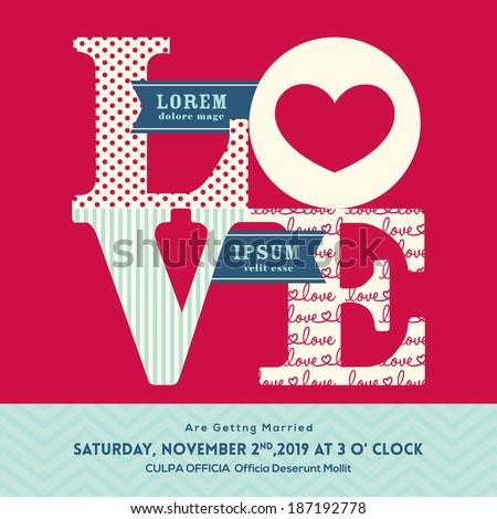 Love Word Wedding Invitation Design Template