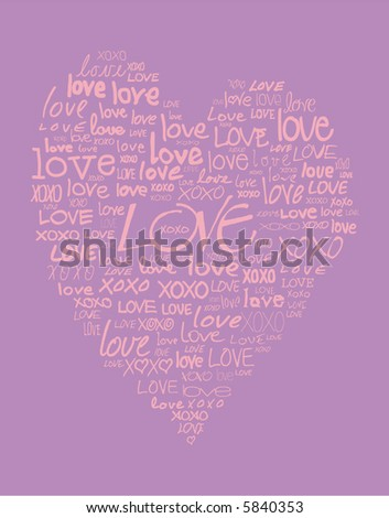 love written in different handwriting and in the shape of a heart - stock vector