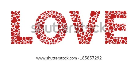 Love written with red hearts - stock vector