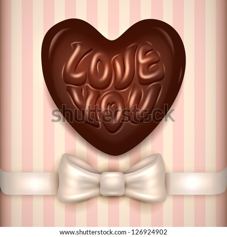 Love you chocolate candy - vector illustration. - stock vector
