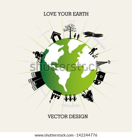 love you earth over white background vector illustration - stock vector