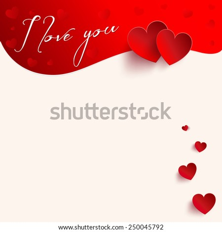Love You Valentine's Day Greeting card - vector illustration - stock vector