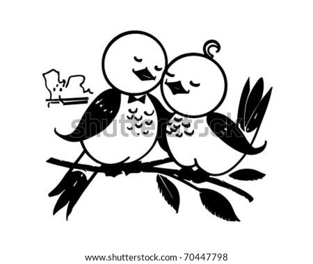 Lovebirds - Retro Clipart Illustration - stock vector