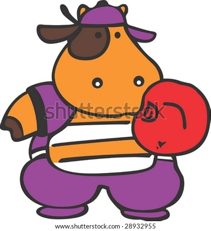 Lovely and Cute young Cow Character - playing game with a red catcher's glove on white background : vector illustration - stock vector