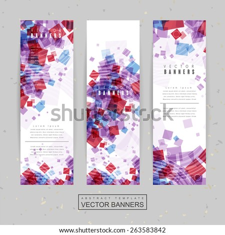 lovely banner template design with translucent squares in red and blue color - stock vector