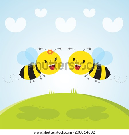 lovely Bees. Cute busy bumble bees. - stock vector