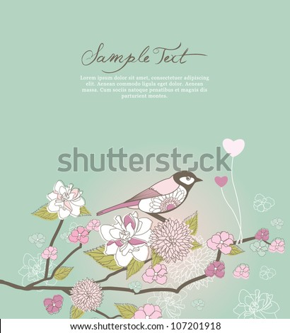 lovely bird and flower background
