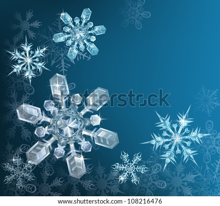 Lovely blue snowflake Christmas background with translucent snowflakes - stock vector