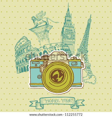 Lovely Card - Vintage Camera with Europe Architecture - in vector - stock vector