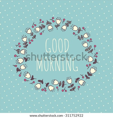 Lovely card with flowers and berries in vector - stock vector
