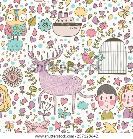 Lovely cartoon seamless pattern with deer, flowers, owl, boy, girl, hearts, butterflies, ship and other romantic symbols in vector. Seamless pattern can be used for awesome wallpapers - stock vector