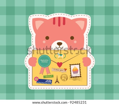 Lovely Cat is Holding a Love Envelope. Valentine Design. - stock vector