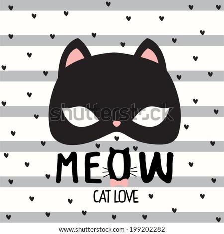 Lovely Cat Mask.seamless pattern on stripe background - stock vector