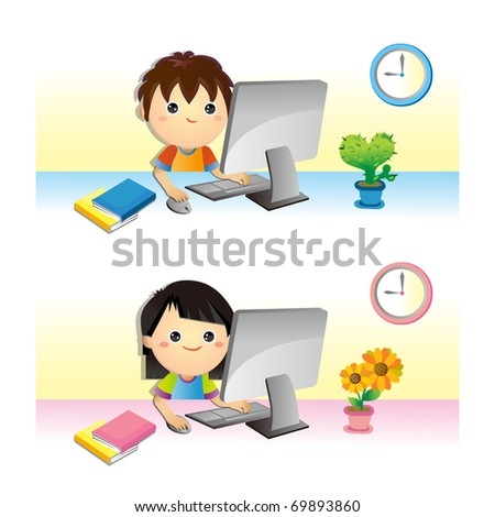 lovely Children learning with computer - stock vector