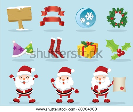 Lovely Christmas Icons - stock vector