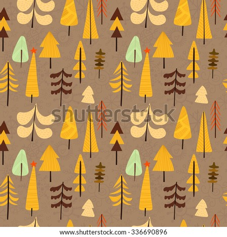 Lovely Christmas seamless pattern with X-mas trees for winter holidays ornaments in bright colors. Stylish New Year and Christmas background in vector - stock vector
