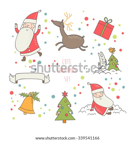 Lovely Christmas vector set in cartoon style.