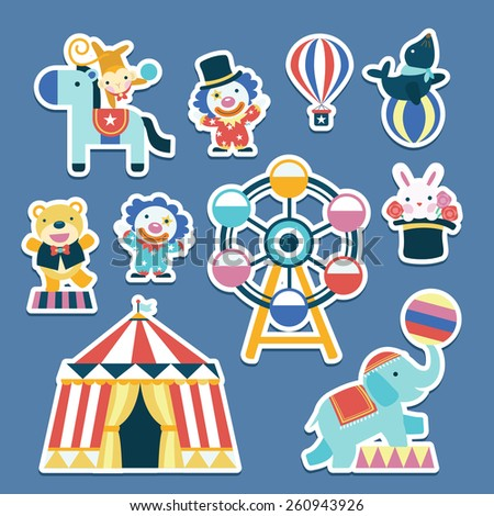 lovely circus collection set in flat design   - stock vector