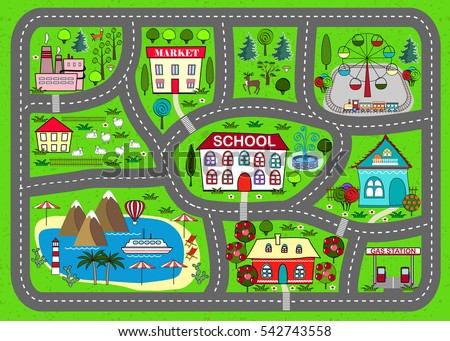 Lovely City Car Track Play Mat Stock Vector 542743558 ...