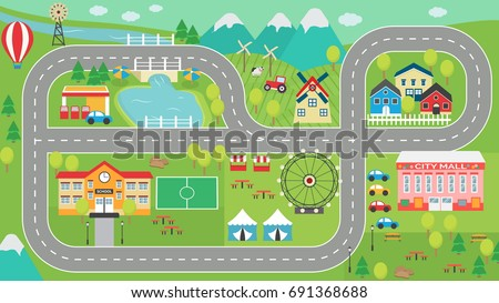 Lovely City Landscape Car Track Hd Stock Vector 691368688