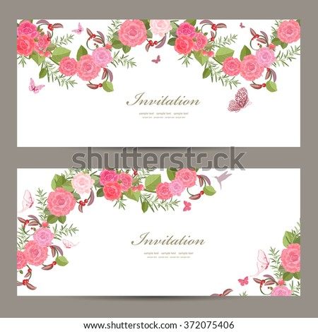 lovely collection horizontal banners with vintage floral pattern for your design