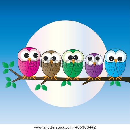 lovely colorful owls