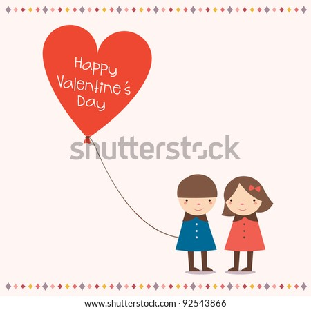 "Lovely Couple Holding a Love balloon with ""Happy Valentine's Day"". - stock vector"