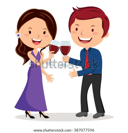 Lovely couple toasting with red wine. Vector illustration of lovely couple toast with red wine. - stock vector
