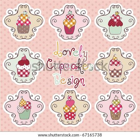 Lovely Cupcakes Design - stock vector