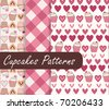 Lovely Cupcakes Patterns - stock vector