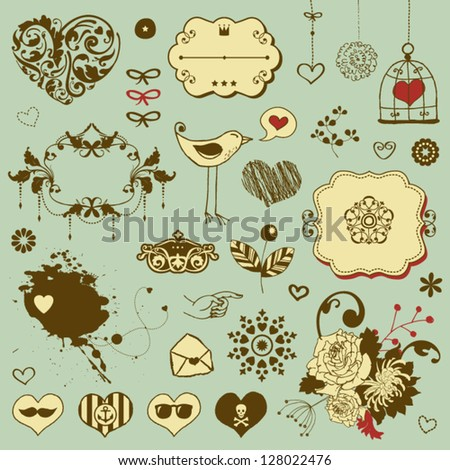 Lovely cute set for Your design with different floral ornaments - stock vector