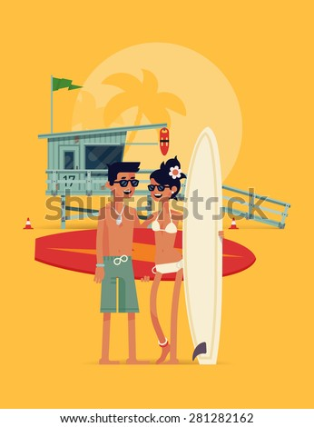 Lovely detailed vector modern flat character design on happy young couple of surfers standing full length on beach holding surfboards and smiling with lifeguard tower in background - stock vector