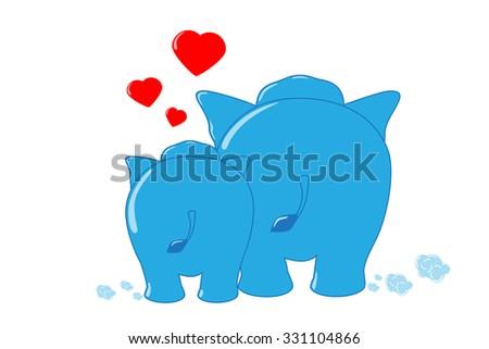 lovely elephant family  - stock vector
