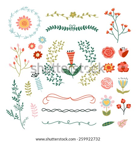 Lovely floral, flowers and design elements - stock vector