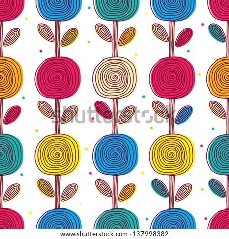 Lovely flowers. Seamless vector pattern. - stock vector