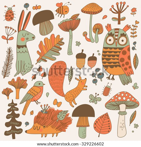 Lovely forest set with lovely wild animals : rabbit, deer, hedgehog, squirrel, owl and birds. Stylish natural background with birds and animals in trees, mushrooms, leafs and insects in autumn colors - stock vector