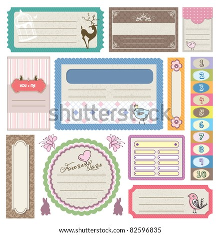 lovely gift tag & sticker - stock vector