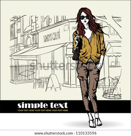 Lovely  girl in sketch-style on a street cafe background. Vector illustration - stock vector