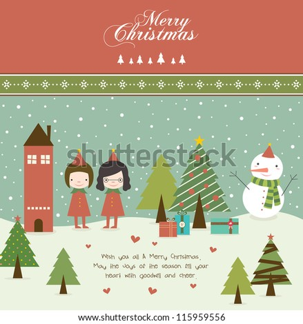 Lovely Girls and Christmas Tree in Retro Style - stock vector