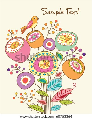 lovely greeting card with whimsical bird and flowers - stock vector