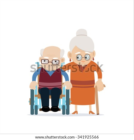 Lovely happy old couple - senior caucasian woman with cane and disabled old bald man in wheelchair. Flat vector characters on isolated background. Concept for growing old together or happy retiring. - stock vector