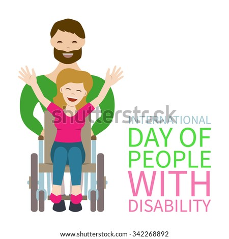 Lovely happy young couple - man pushing wheelchair with disabled woman holding her hands up. Flat vector characters on isolated background. Concept for International Day of People With Disability. - stock vector