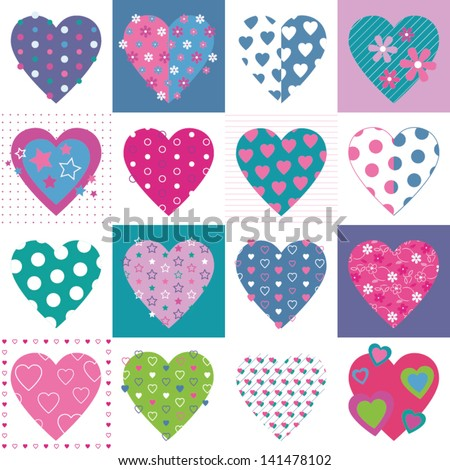 lovely hearts collection pattern - stock vector
