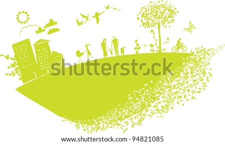 lovely illustration featuring happy people on a stylized green little planet earth
